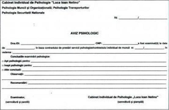 Aviz psihologic pentru angajare / verificare periodica