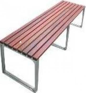 Bancuta din lemn cu picioare de aluminiu