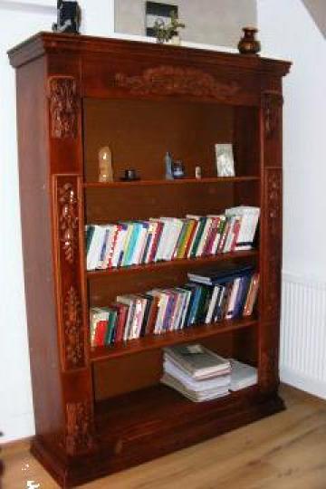 Biblioteca sculptata din lemn masiv de fag