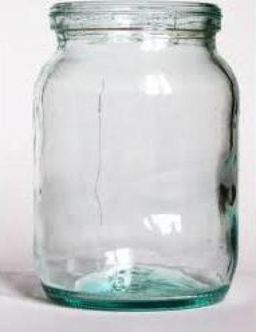 Borcan 580 ml alb cu capac