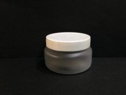 Borcan transparent/alb 100ml cu capac fi 66 alb/galben