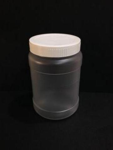 Borcan transparent/alb 400 ml cu capac fi 66 alb/galben
