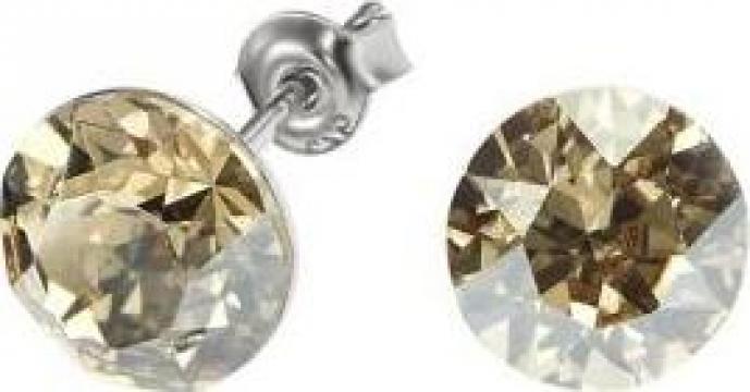 Cercei argint 925 si swarovski Crystal Bronze Shade