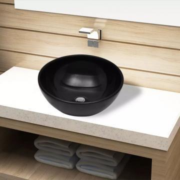 Chiuveta ceramica pentru baie, rotunda, neagra