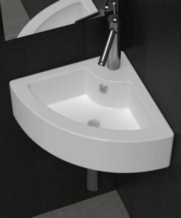 Chiuveta de baie din ceramica, montare pe colt, alb