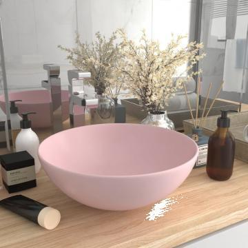 Chiuveta de baie, roz mat, ceramica, rotund