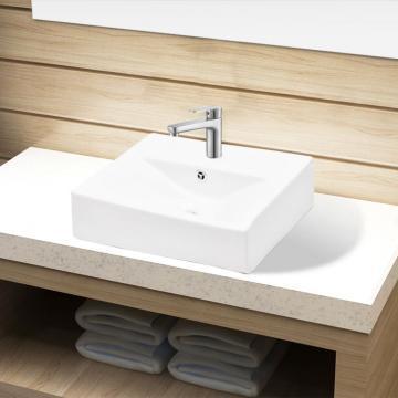 Chiuveta dreptunghiulara de baie din ceramica, alb
