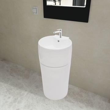 Chiuveta rotunda din ceramica cu stativ si preaplin, alb