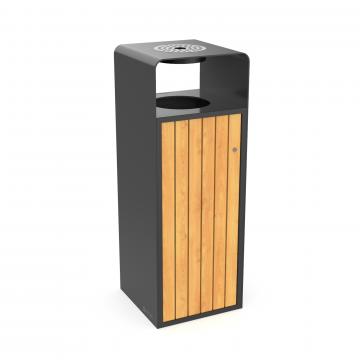 Cos de gunoi cu scrumiera pentru exterior, metal/lemn design