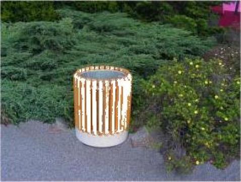Cos de gunoi stradal cu sigle din lemn ZK698