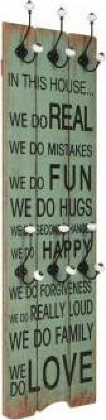Cuier de perete cu 6 carlige, 120 x 40 cm, Happy Love