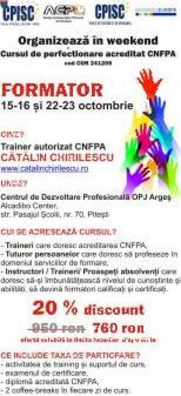 Curs acreditat CNFPA - Formare de Formatori - COR 241205