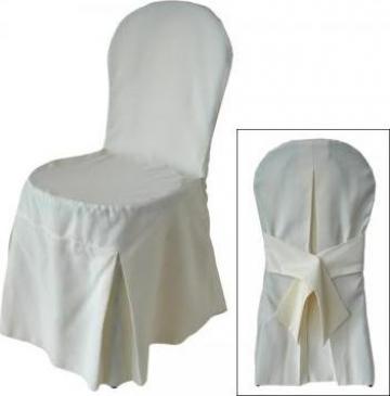 Husa de scaun din brocard cu spatar rotund si funda