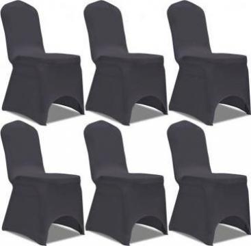 Husa elastica pentru scaun, Antracit, 6 buc.