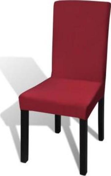 Husa elastica pentru scaun, culoare bordeaux, set 6 bucati