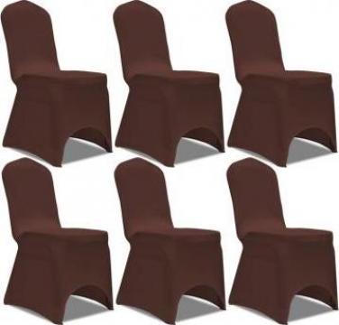 Husa elastica pentru scaun, maro, 6 buc.