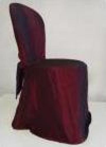 Husa scaun grena din satin si tafta pe forma scaunului