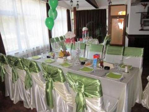 Husa scaun saten ivoire + esarfa satin verde