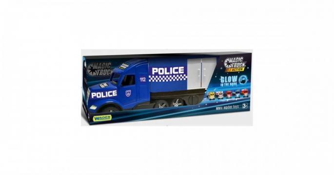 Jucarie Camion politie Magic Truck fluorescent, Wader 81 cm