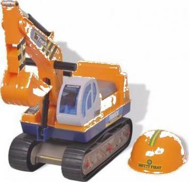 Jucarie Excavator rotativ din plastic pentru copii galben