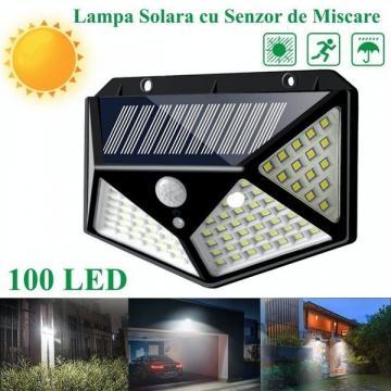 Lampa de perete solara si senzor de miscare cu 100 leduri