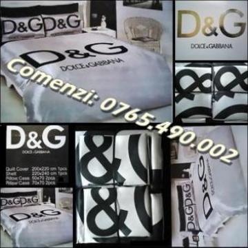 Lenjerie pat dublu matrimonial D&G 6 piese