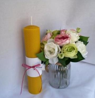 Lumanare ceara de albine pentru botez 30/6 cm