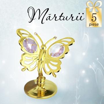 Marturii Fluturas cu cristale Swarovski violet - 5 marturii