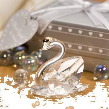 Marturii nunta, lebada cristal, cutiute mire si mireasa