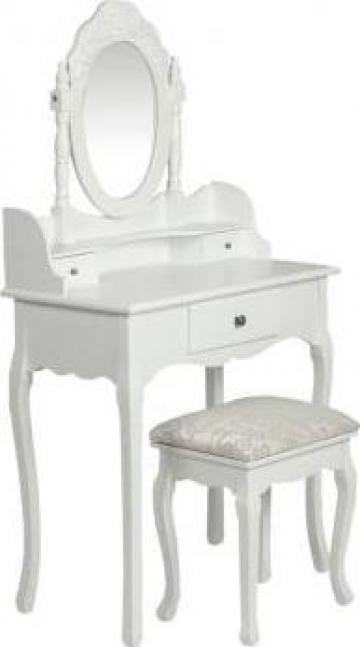 Masa toaleta cu oglinda si scaun alb