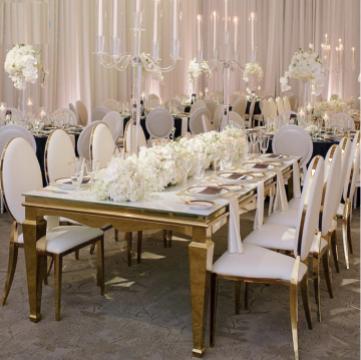 Mese inox cu blat oglinda pt saloane evenimente, ballroom