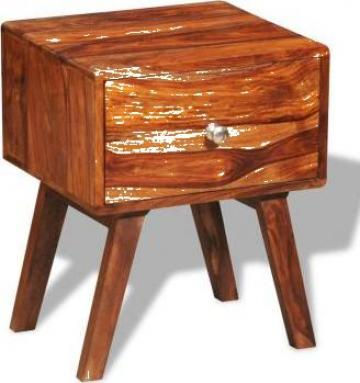 Noptiera cu 1 sertar, 55 cm, lemn masiv de sheesham