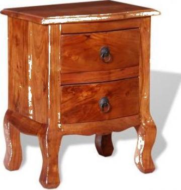 Noptiera cu sertare din lemn masiv de acacia