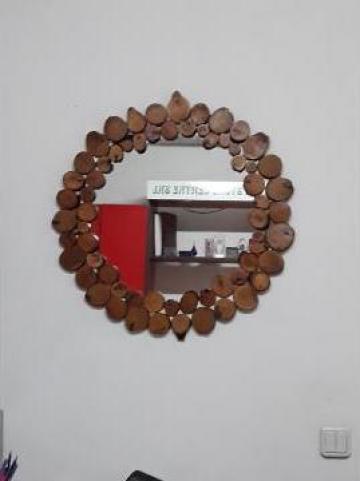 Oglinda rama din felii de lemn