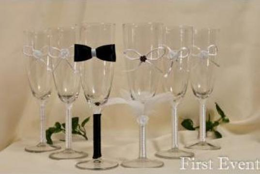 Pahare decorate pentru nunta
