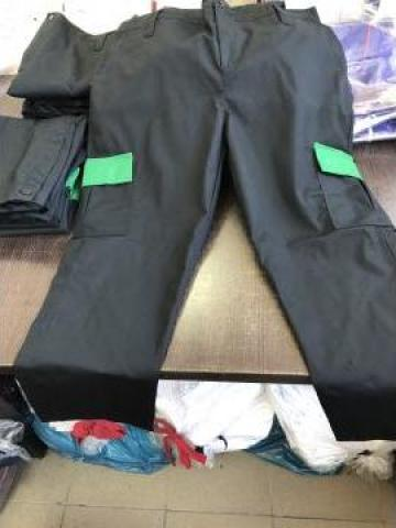 Pantalon de paza negru cu verde