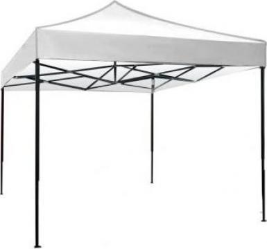 Pavilion, cort gradina pliabil Raki 3x3m, cadru metalic alb