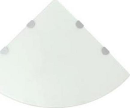 Raft de colt cu suporti de crom, sticla, 45 x 45 cm
