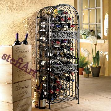 Raft din fier forjat pentru sticle de vin 180x60x50cm
