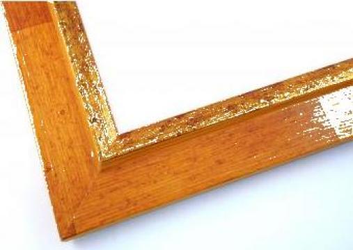 Rama tablou lemn colorat cu auriu