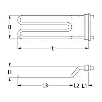 Rezistenta 2000W, 230V, L=210mm, 1 circuit incalzire