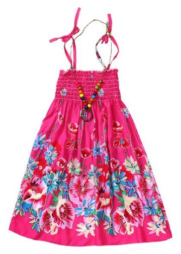 Rochita eleganta de vara cu bretele, Alicia, bumbac, roz