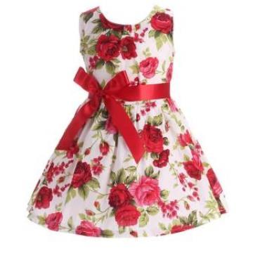 Rochita subtire de vara, bumbac, alb cu trandafiri rosii