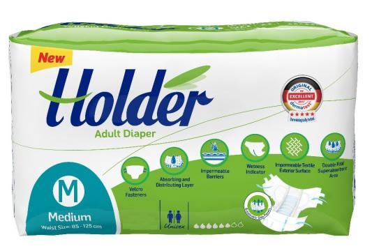 Scutece adulti Holder, Marimea M - Medium, 60 buc/set