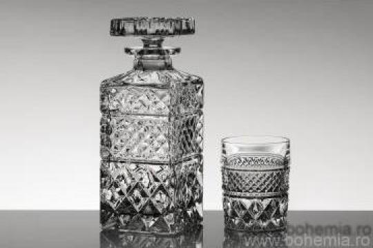 Set 6 pahare si sticla whisky, Cristal Bohemia - Madison