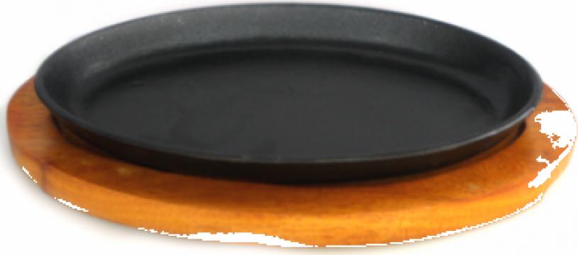 Tava fonta ovala Etno 26,5x17cm, cu suport din lemn