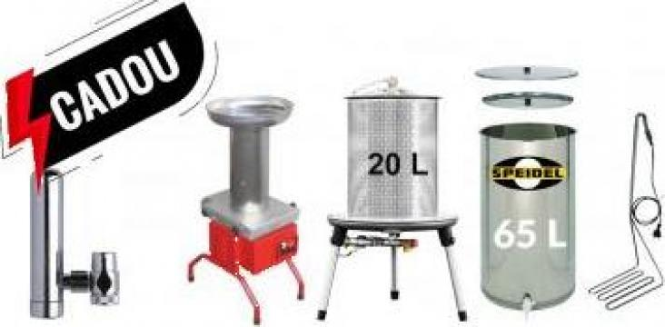 Tocator fructe 600kg/h, hidropresa 20l si butoi pasteurizare