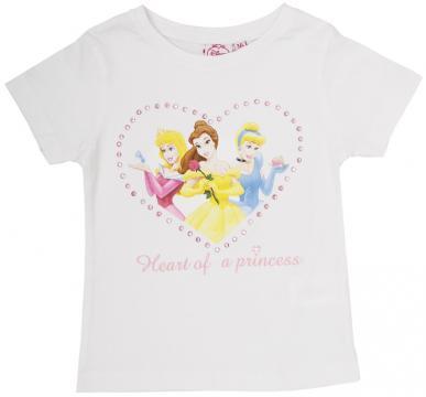 Tricou cu maneca scurta, Printesele Disney, inimioara, alb