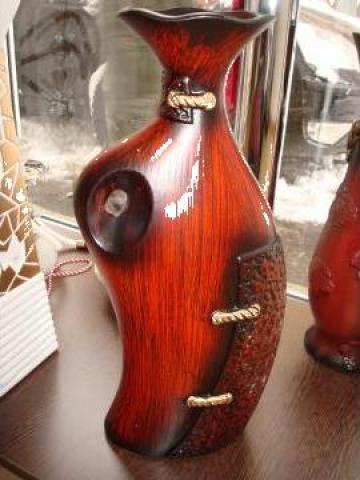 Vaza din ceramica cu imitatie de lemn