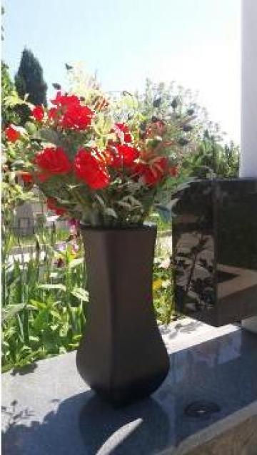 Vaza flori metalica pentru cimitir, aluminiu negru mat